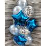 Фонтан из шаров со звездами и конфетти